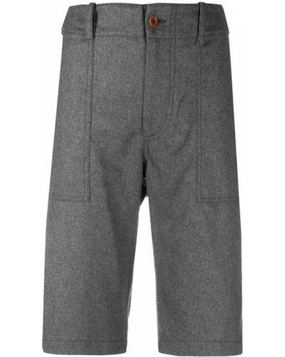 Шерстяные серые с завышенной талией шорты Jejia