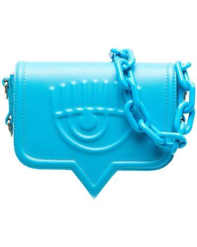 Niebieska torebka na łańcuszku skórzana Chiara Ferragni