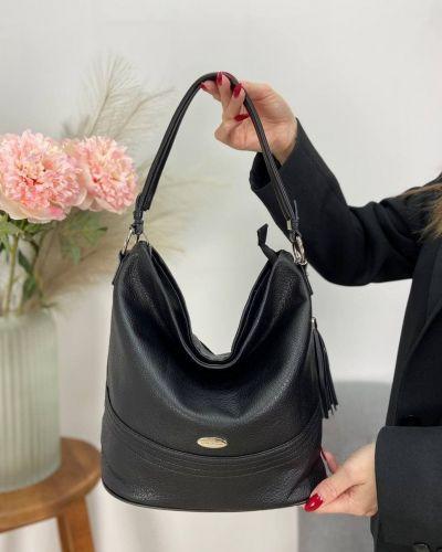 Кожаная сумка - черная David Jones