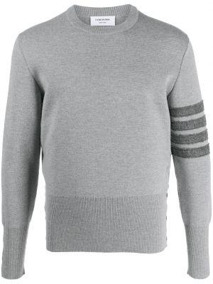 С рукавами серый джемпер с вырезом Thom Browne