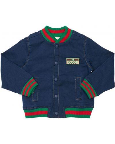 Синяя куртка с воротником на пуговицах с аппликациями Gucci