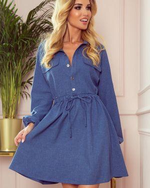Niebieska sukienka jeansowa bawełniana oversize Numoco