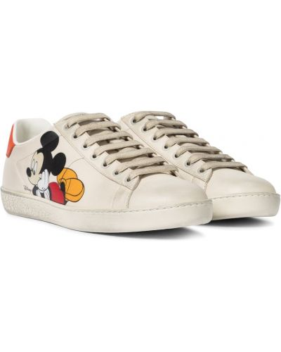 Białe sneakersy skorzane Gucci