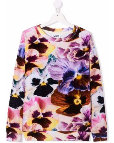 Bluza dresowa w kwiaty - biała Molo