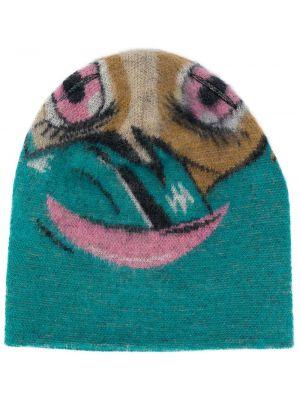Розовая вязаная шапка бини из мохера Doublet