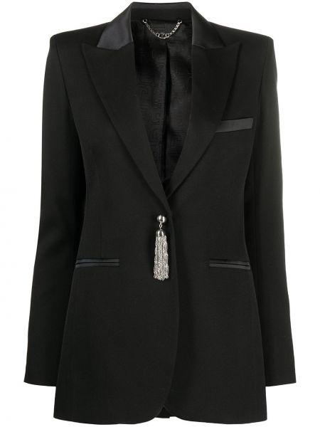 Однобортный черный пиджак с карманами Paco Rabanne