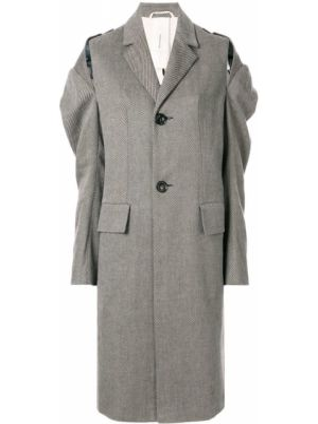 Серое пальто классическое с капюшоном на пуговицах Phaedo Studios