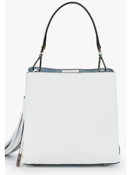 Белая кожаная сумка с перьями из натуральной кожи Eleganzza