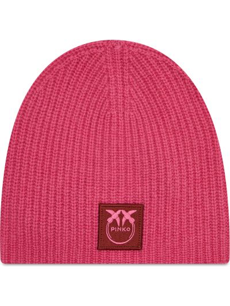 Różowa z kaszmiru czapka Pinko