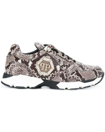 Кожаные кроссовки со змеиным принтом на шнуровке Philipp Plein