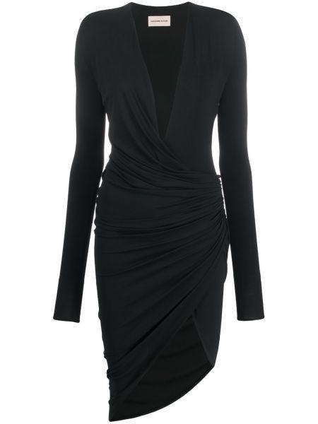 Czarna sukienka midi z falbanami asymetryczna Alexandre Vauthier