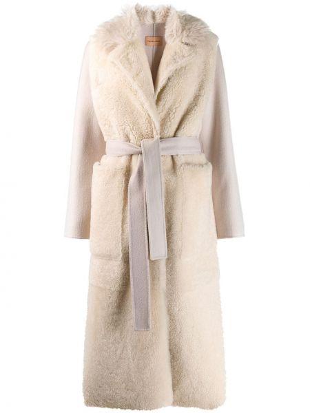 Кашемировое длинное пальто с капюшоном с воротником Yves Salomon