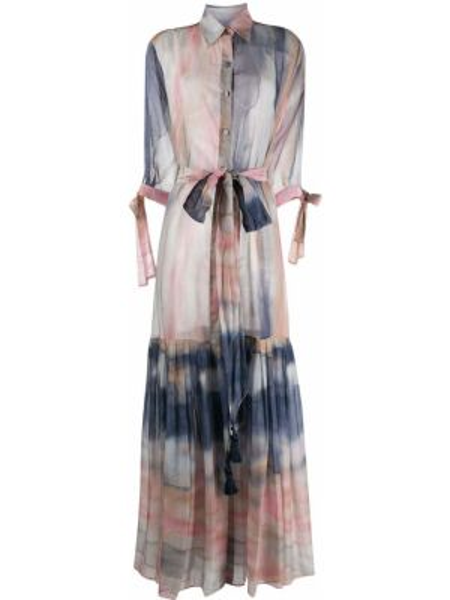 Klasyczna różowa sukienka długa bawełniana Evi Grintela