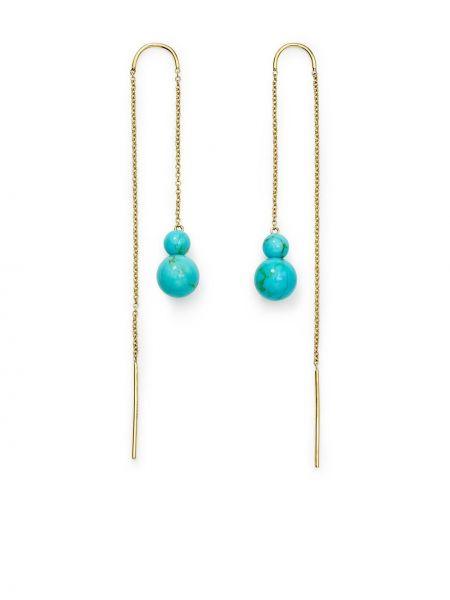 Золотистые золотые серьги золотые с камнями Ippolita