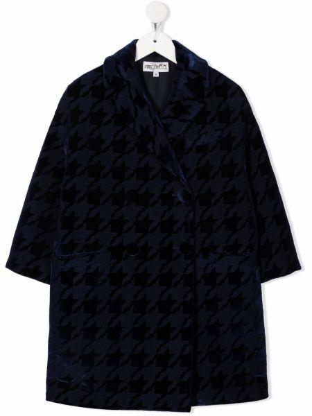 Niebieski długi płaszcz wełniany Simonetta