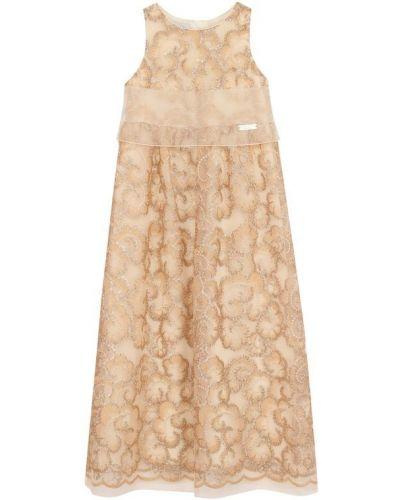 Платье макси из фатина с цветочным принтом I Pinco Pallino