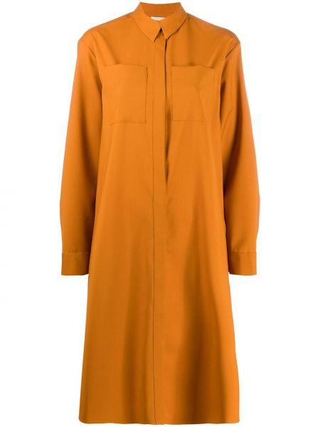 Желтое платье миди на пуговицах с воротником с карманами Maison Rabih Kayrouz