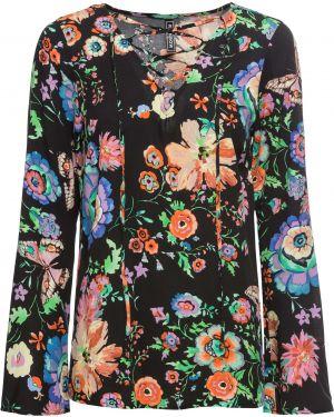 Блузка с длинным рукавом со шнуровкой с цветочным принтом Bonprix