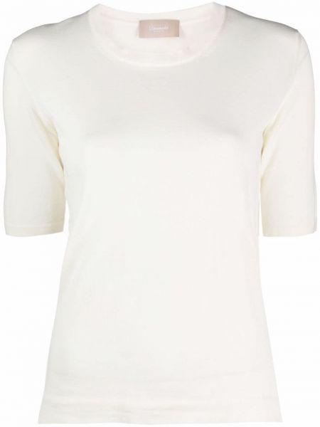 Прямая хлопковая белая футболка Drumohr