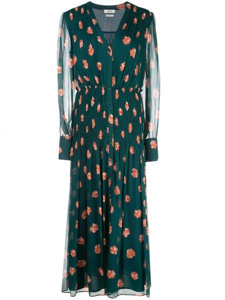 С рукавами зеленое платье с V-образным вырезом Jason Wu