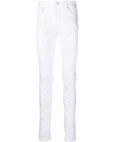 Белые кожаные джинсы Amiri