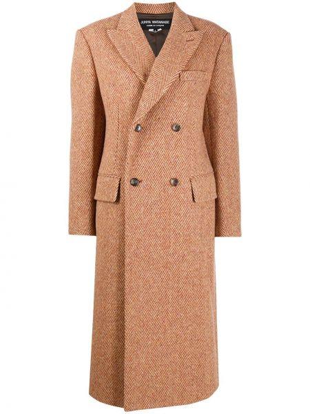Шерстяное пальто классическое двубортное с карманами Junya Watanabe