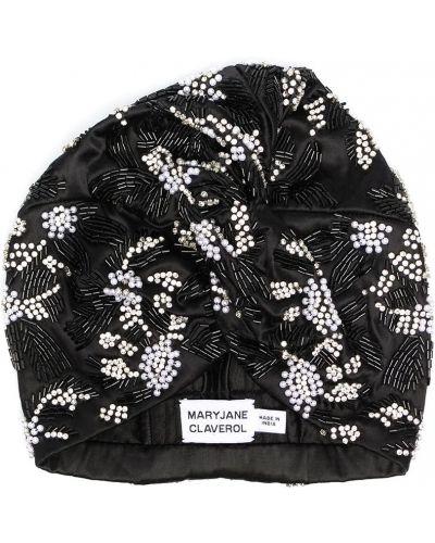 Czarny turban z wiskozy z koralikami Maryjane Claverol