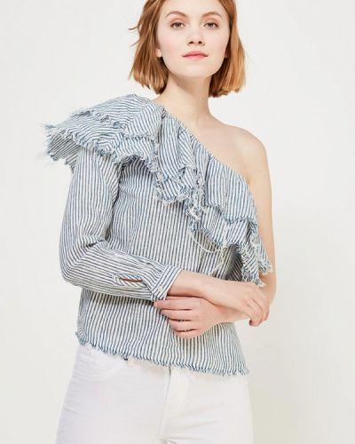Синяя блузка с открытыми плечами Only