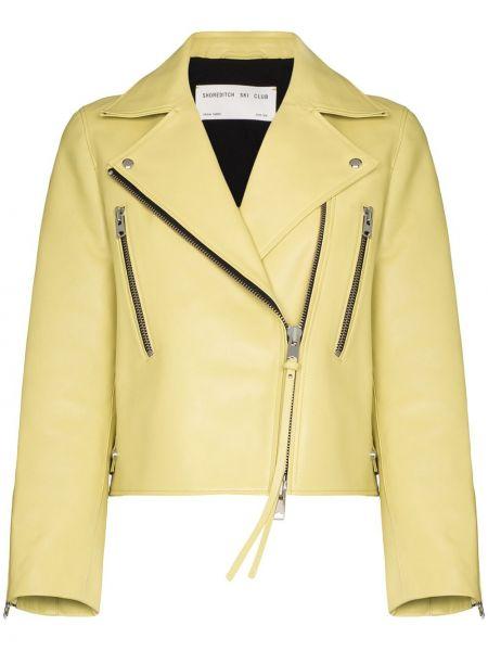 Żółta długa kurtka skórzana z długimi rękawami Shoreditch Ski Club