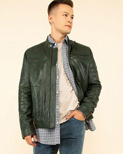 Серая кожаная куртка с воротником каляев