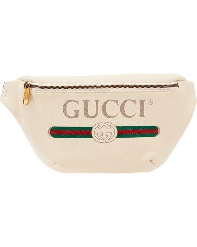 Поясная сумка кожаная с принтом Gucci