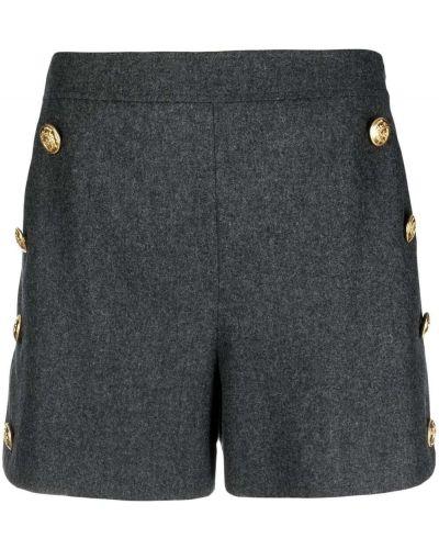 Шерстяные серые с завышенной талией шорты Boutique Moschino