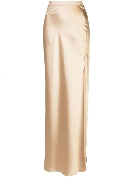 Шелковая с завышенной талией юбка макси с поясом без застежки Nili Lotan