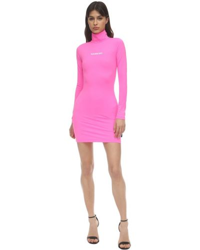 Однобортное розовое платье мини с воротником с длинными рукавами Vetements