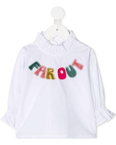 С рукавами белая расклешенная блуза с оборками Raspberry Plum