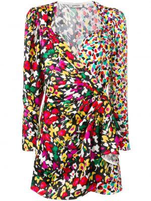 Sukienka mini kopertowa z długimi rękawami z wiskozy Attico