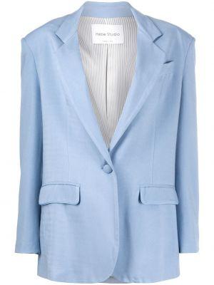 С рукавами синий пиджак с карманами из вискозы Hebe Studio