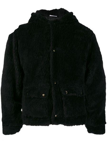Długa kurtka z kapturem czarna Gcds