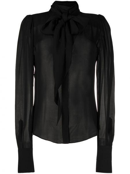 Czarna bluzka z długimi rękawami z jedwabiu Barbara Bui