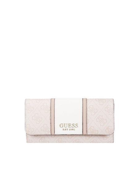Różowy portfel z zamkiem błyskawicznym z aplikacjami Guess