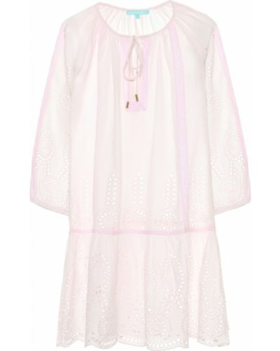 Ватный хлопковый розовый кафтан с вышивкой Melissa Odabash