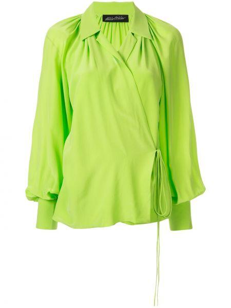 Шелковая блузка - зеленая Anna October