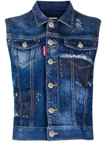 Синяя классическая жилетка с карманами без рукавов Dsquared2