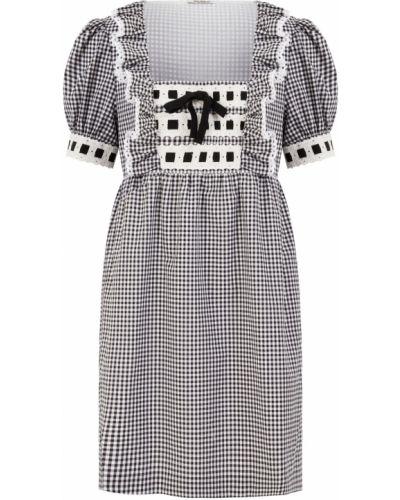 Ажурное черное платье мини с декольте квадратное Miu Miu
