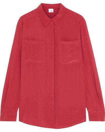 Шелковая красная рубашка с манжетами Iris & Ink