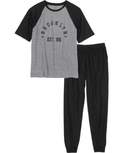 Пижама серая черный Bonprix