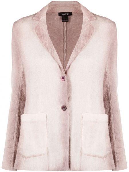 Льняной однобортный розовый удлиненный пиджак Avant Toi