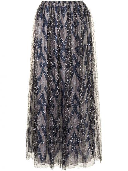 Прямая с завышенной талией юбка макси из фатина Giorgio Armani