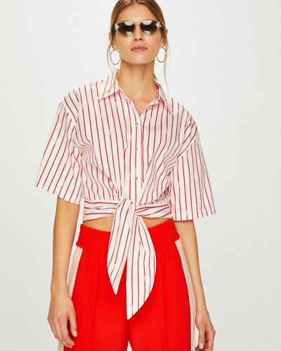 Блузка с коротким рукавом в полоску на пуговицах Pinko