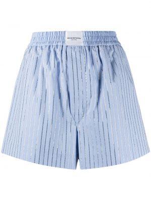Niebieskie szorty z wysokim stanem bawełniane Alexander Wang